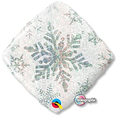 Шар 46 см Квадрат Снежинка белая голография