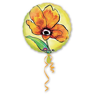 Шар 46 см Квадрат Цветок Рисунок оранжевый