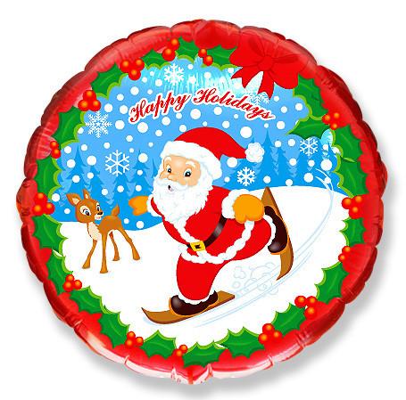 Шар 46 см Круг Дед мороз на лыжах