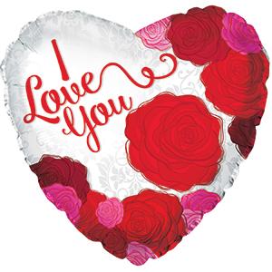 Шар 46 см Сердце Я люблю тебя розы Красный