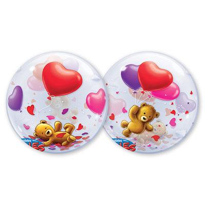 Шар 56 см bubble Мишка плюшевый с шарами