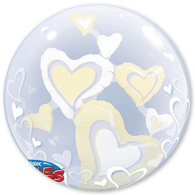 Шар 61 см bubble ИНСАЙДЕР Парящие Сердца Ivory