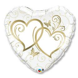 Шар 91 см Сердце Сердца переплетенные Gold