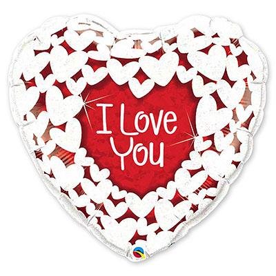 Шар 91 см Сердце ILY Сердца голографические