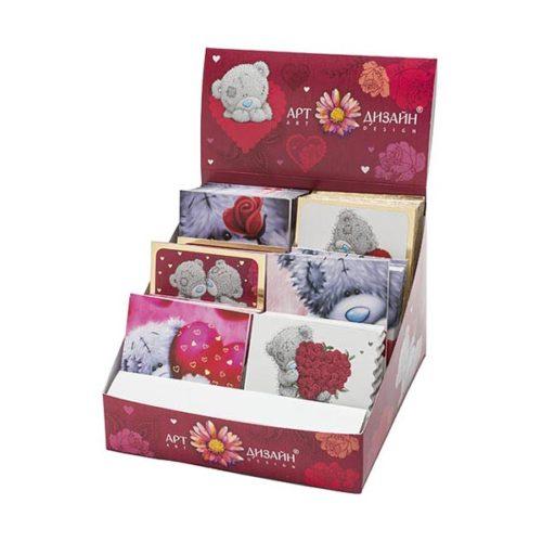 Открытка из Набора валентинок Тедди с цветочками 1 штука
