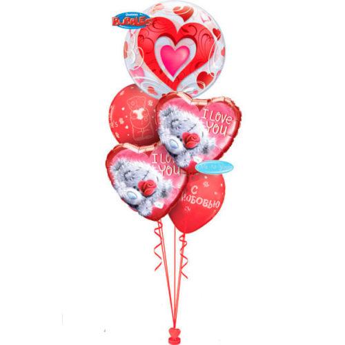 Фонтан из шаров с Мишкой Тедди шаром с сердцем