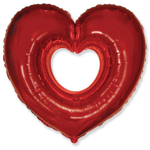 Шар 102 см Фигура Сердце в сердце Красный