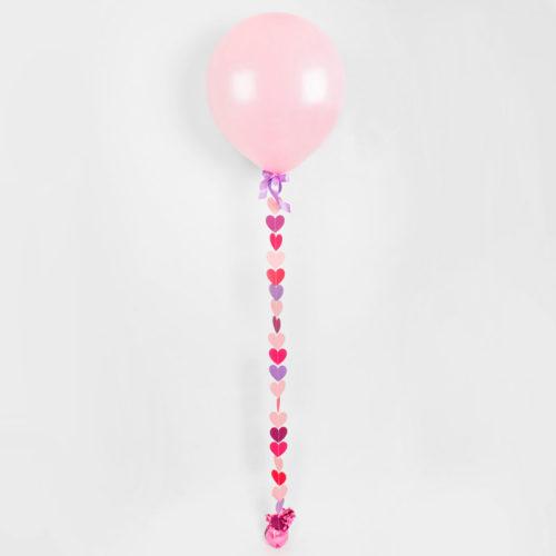Шар 41-45 см с гирляндой сердечек Розовый