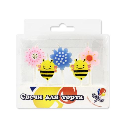Свечи Пчелки и Цветы 5 шт