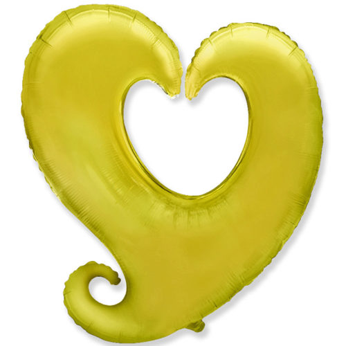 Шар 102 см Фигура Сердце витое Золото