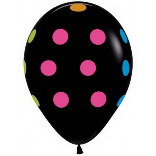 Шар 30 см Горошек многоцвет флюор Черный Пастель