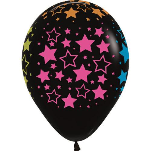 Шар 30 см Звезды многоцвет флюор Черный Пастель