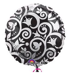 Шар 46 см Круг Узоры серебро на черном