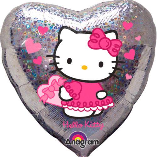 Шар 46 см Сердце Хэллоу Китти Сердечки Голография