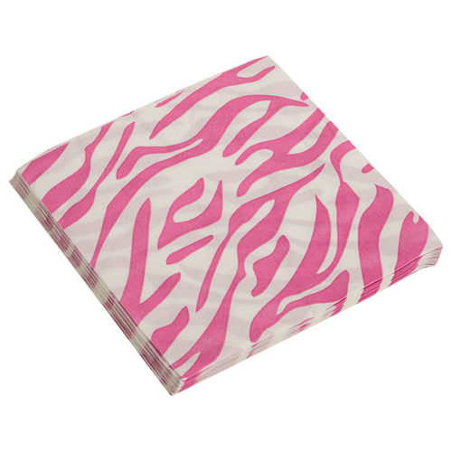 Салфетки 32 х 32 см Окрас зебры Розовый 20 штук