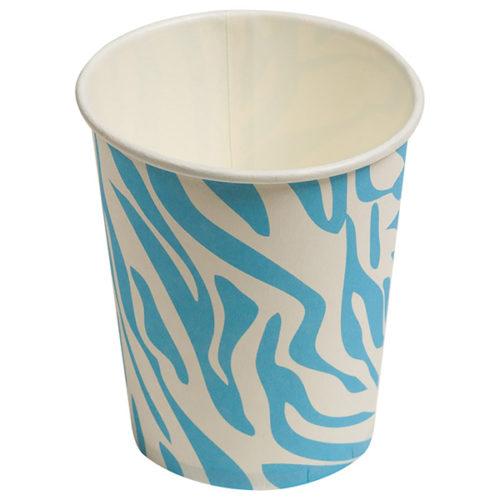 Стаканы бумажные 180 мл Окрас зебры Голубой 6 штук
