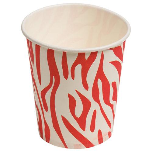 Стаканы бумажные 180 мл Окрас зебры Красный 6 штук