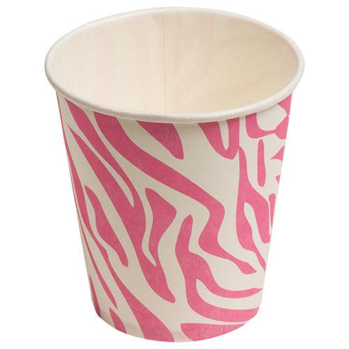 Стаканы бумажные 180 мл Окрас зебры Розовый 6 штук