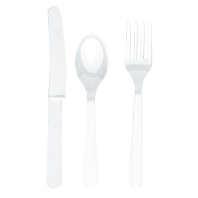 Столовые приборы пластик белые 8 персон