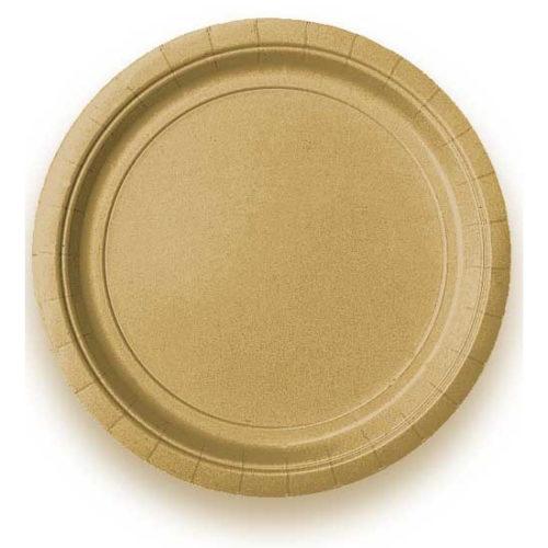 Тарелка бумажная 17 см Золото 8 персон