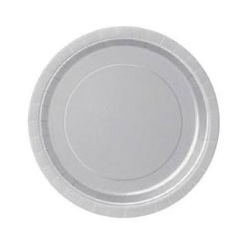 Тарелка бумажная 17 см Серебро 8 персон