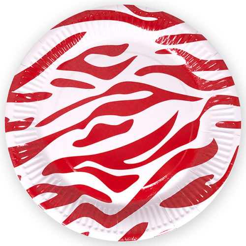 Тарелка бумажная 23 см Окрас зебры Красный 6 штук
