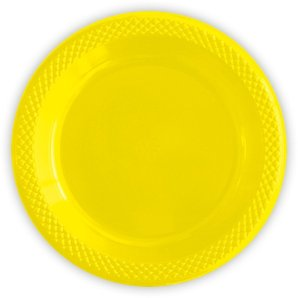 Тарелки пластиковые 23 см Делюкс Желтые 10 штук