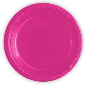 Тарелки пластиковые 23 см Делюкс Фуксия 10 штук
