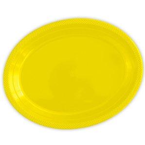 Тарелки сервировочные пластиковые 25 х 32 см Делюкс Желтые 5 штук