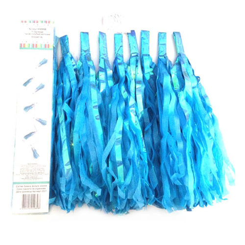 Праздничная гирлянда Тассел голубые кисточки 8 штук