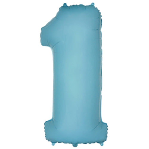 Шар 102 см Цифра 1 Голубой