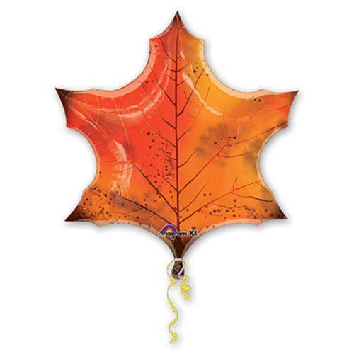 Шар 74 см Фигура Лист кленовый оранжевый
