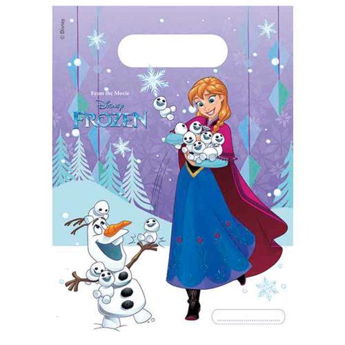 Пакеты подарочные 17 х 23 см Холодное сердце Торжество снежки 6 штук
