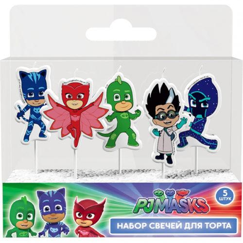 Свечи Герои в масках 5 шт с держателями 7 см