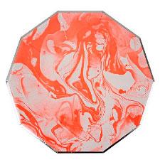 Тарелки 17 см Розовые Мрамор 6 шт