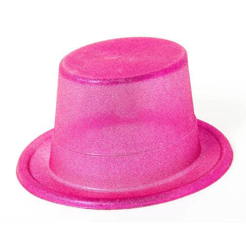 Шляпа Блестящая розовая цилиндр
