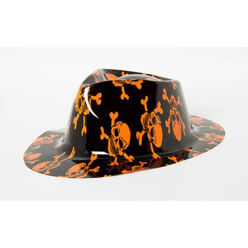 Шляпа Оранжевый череп с большими полями