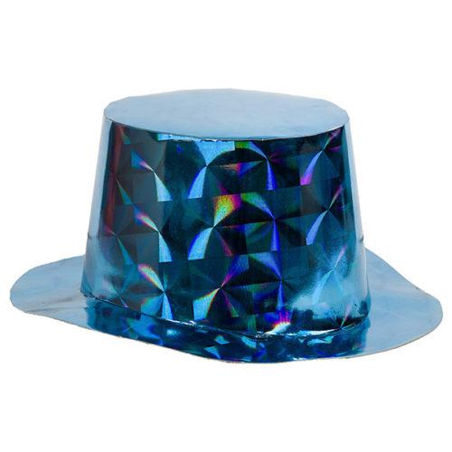 Шляпа Цилиндр голография Синий
