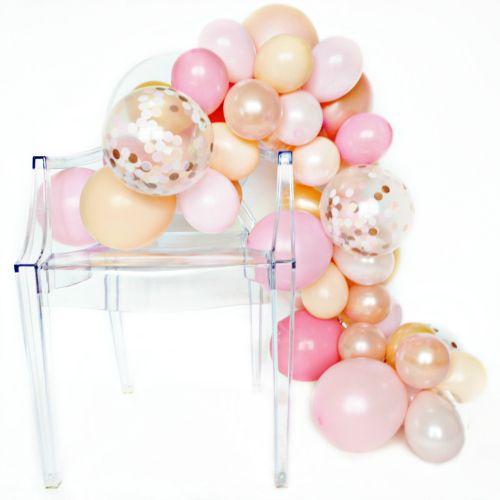 Гирлянда из разных шариков цвета пастельные розовые тона 2 метра