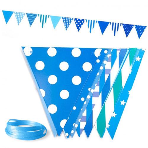 Гирлянда флажки Ассорти дизайнов Голубой 300 см