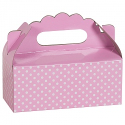Коробка для пирожных Точки Розовый 1 шт