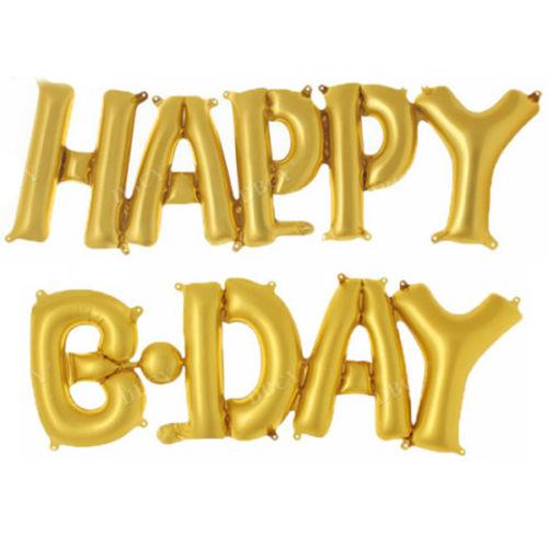Надпись Happy Birthday Золото с воздухом 36 см х 119 см