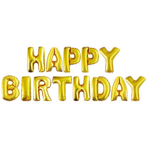 Надпись Happy Birthday Золото с воздухом 41 см