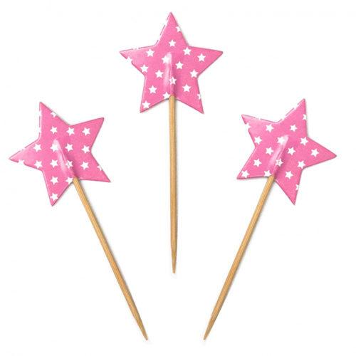 Пики для канапе Звезды Розовые 20 шт