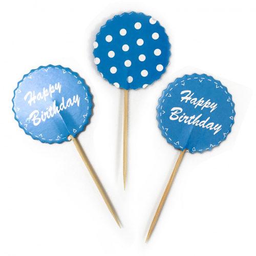 Пики для канапе С Днем Рождения Точки Голубой 20 шт