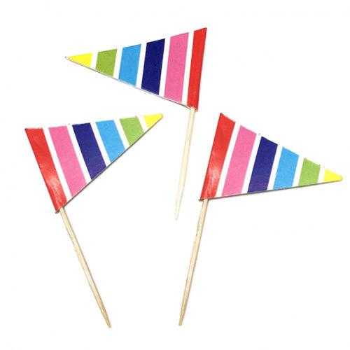 Пики для канапе Флажки Разноцветные полосы 20 шт