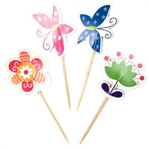 Пики для канапе Цветы и бабочки 20 шт
