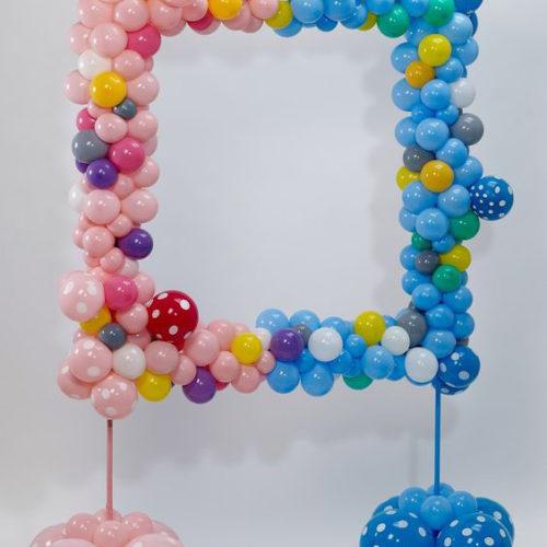 Рамка для фото из шаров Голубой и розовый