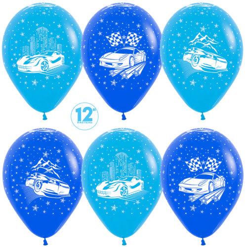 Шар 30 см Машины Синий Голубой пастель