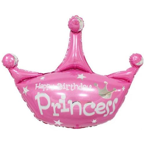 Шар 43 см Мини-Фигура Корона С ДР Принцесса Розовый